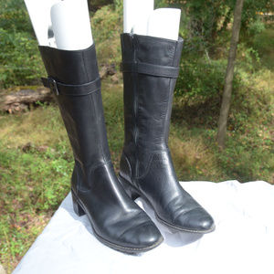 Mid-Calf black leather boots 1.5 heel